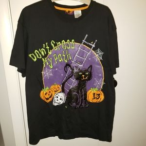 Halloween 2X plus graphic tee sparkle black cat
